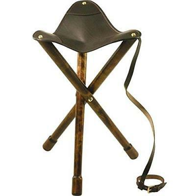Bisley Folding Tripod Stool with Real Leather Seat Fishing Camping Hiking Chair