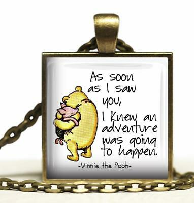 Winnie-the-Pooh Quote Glass Top Pendant Necklace As Soon as I Saw You I Knew