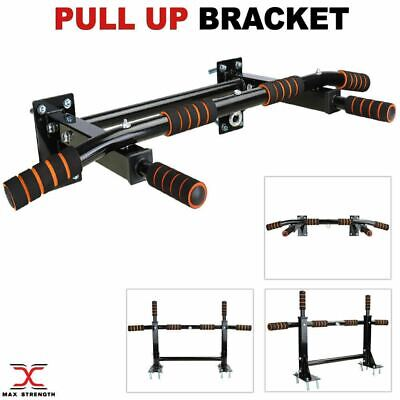 Wall Mounted Chin Pull Up Bar Chinning Bracket Home Gym Fitness Exercise Black
