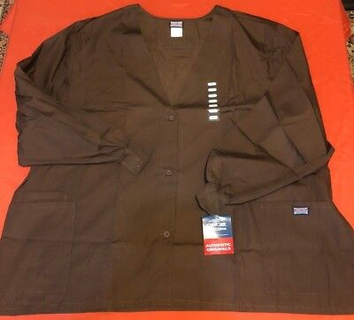 Cherokee Workwear 4301 Scrubs Women's Cardigan Warm-Up Jacket 5XL Brown
