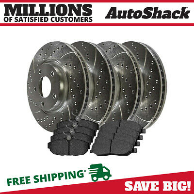 FRONT+REAR SET Z0726 Performance Cross Drilled Brake Rotors /& Ceramic Pads