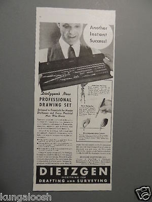 1937 Dietzgen Professional Drawing Set For Drafting And Surveying-Vintage Ad