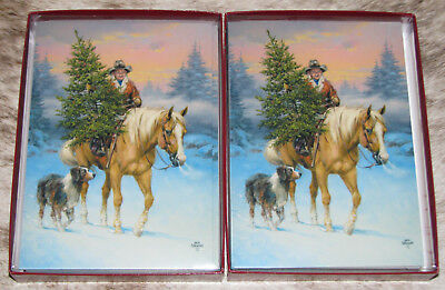 LEANIN TREE Bringing Christmas Tree on Horseback w/ Dog~20 total boxed cards~