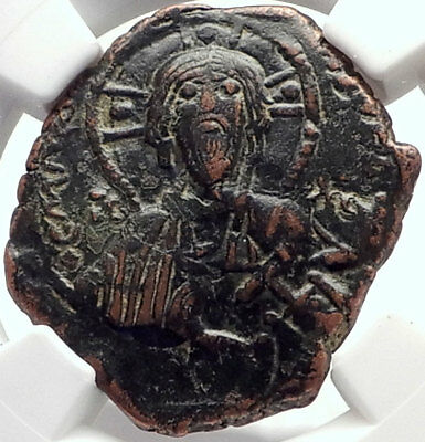 CONSTANTINE X Authentic Ancient Byzantine Follis Coin JESUS CHRIST NGC i70158