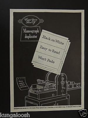1945 Copies You're Proud Of Mimeograph Duplicator, A.b. Dick Co. Vintage Art Ad