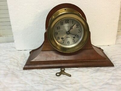 Magnificent Antique Vintage Chelsea Ship's Bell Brass Clock With Wood Stand
