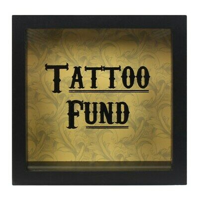 Black Tattoo Fund Glass Money Box with Wooden Frame