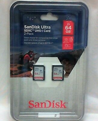 NEW SanDisk Ultra 64GB 2‐pack SDHC UHS-I Class 10 Memory Card SDSDUUC