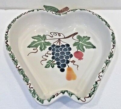 Chaparral Pottery USA Apple Shaped Baking Serving Dish Stoneware Fruit Grapes