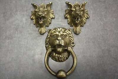 Antique Ornate Solid Brass Lion's Head Door Knockers. Lot of 3
