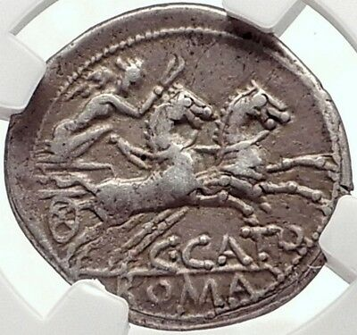 Roman Republic 123BC Rome Authentic Ancient Silver Coin ROMA CHARIOT NGC i70176