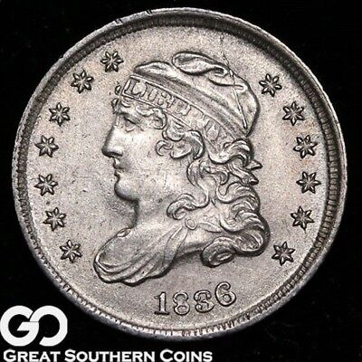 1836 Capped Bust Half Dime, 3 Over Inverted 3, Sharp BU++ Better Date Silver!