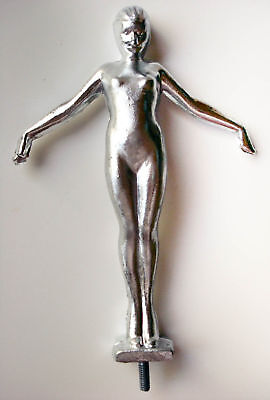 "Frankart nymph w/arms out lamp art deco figurine 8"" tall sanded aluminum USA"