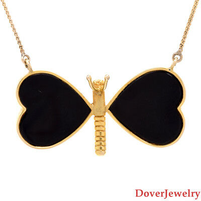 ITALIAN ONYX 14K Yellow Gold Butterfly Heart Pendant Chain Necklace 8 6  Grams NR