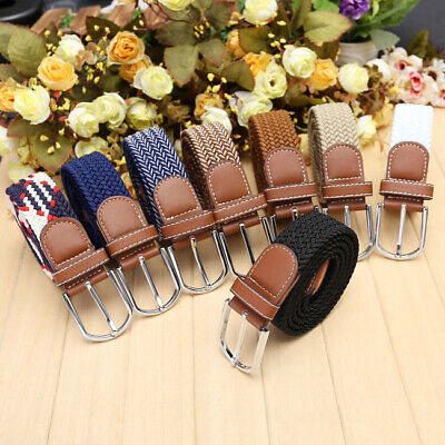 Mens Leather Elastic Stretch Cross Buckle Casual Golf Belt Strap Waistband Gift