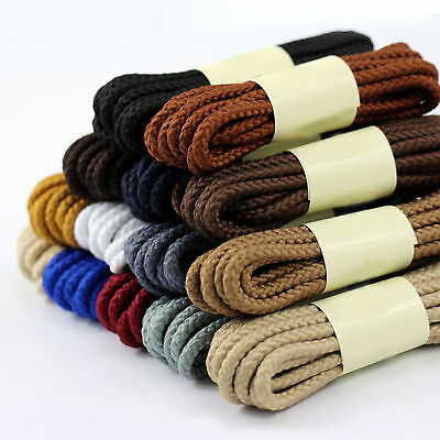 ROUND COLOURED SHOE LACES SHOELACES BOOTLACES 5mm WIDE - 4 LENGTHS - 13 COLOURS