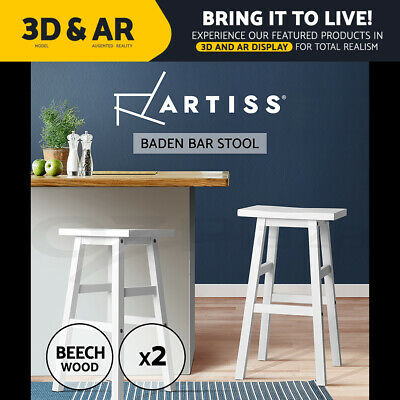 Artiss 2x BADEN Wood Bar Stools Stool Dining Chairs Kitchen Cafe White Barstools