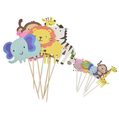 Safari Animal Cake Toppers Cupcake Decoration Kids Birthday Home Party Supplies