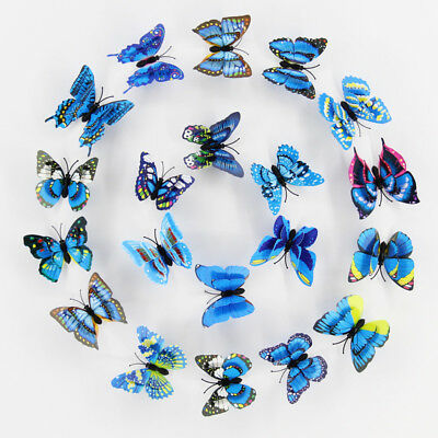 10pcs blue Artificial Butterfly Luminous Fridge Magnet for Home Christmas