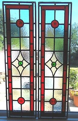 One Pair Of Stained Glass Door Panels - Ref Sg325 Made To Order