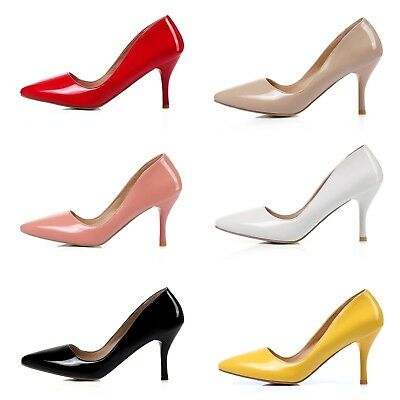 Women's High Heel Shiny Synthetic Leather Pointed Shoes Plus Size Pumps Classics
