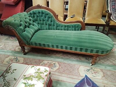 Victorian Antique Chaise Longue Original Clay Casters CAN DELIVER! Sofa / Daybed