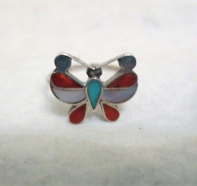 Vintage Silver Coral Turquoise Inlay Butterfly Ring Sz 6