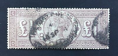 GB Queen Victoria Surface Printed 1884 £1.00 Brown Lilac SG 185 (cat £3000))