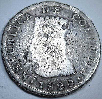 Colombia 1820 JF Very Rare 8 Reales Silver Piece Of Eight Real Cundinamarca Coin