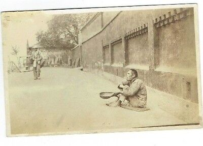 Old Postcard Chinese Beggar Hankow / Hankou China Real Photo Vintage 1920S