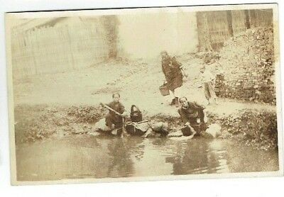 Old Chinese Postcard Hankow / Hankou Washer Women China Real Photo Vintage 1920S