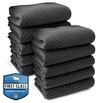 "10 Moving Blankets Furniture Pads - Ultra Thick Pro - 80"" x 72"" Black"