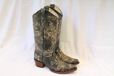 f15013f7d40 CORRAL WOMEN'S CIRCLE G Crackle Scroll Bone Embroidered Western Boots -Size  7.5M