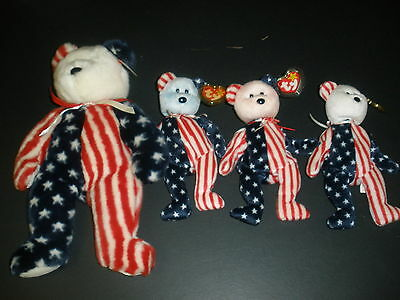 4 Ty Spangle Beanie Babies 3 Small 1 Large White And Blue Faces