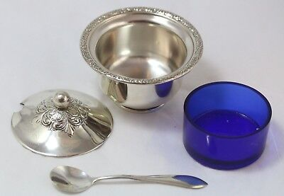 Vintage sterling silver sugar bowl w/ lid, spoon and cobalt blue glass insert