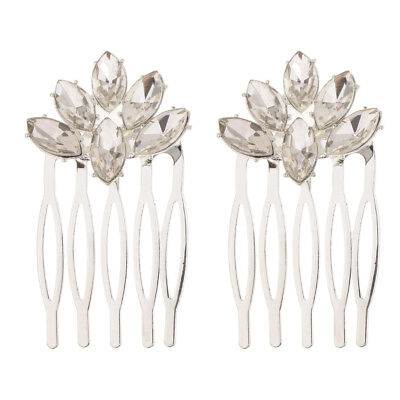 2Pcs Wedding Bridal Hair Pin Clip Comb Jewelry Accessories Rhinestone Silver