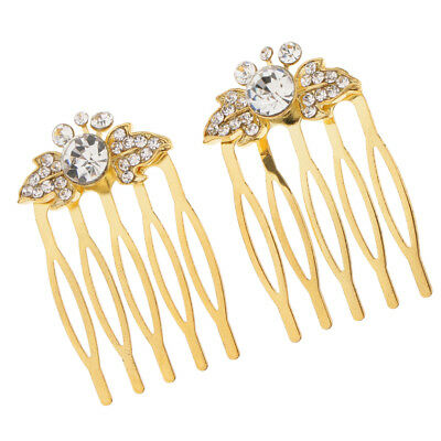 2Pcs Wedding Bridal Crystal Hair Pin Clip Comb Jewelry Accessories Leaf Gold