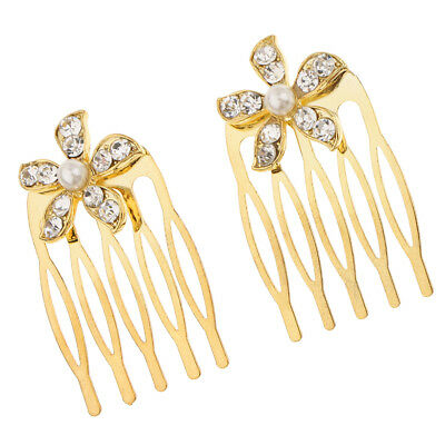 2Pcs Wedding Bridal Crystal Hair Pin Comb Jewelry Accessories Flower Gold