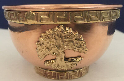 Tree of Life Copper Bowl-Offering Bowl-Incense-Smudge-Resin Burner-Cauldron