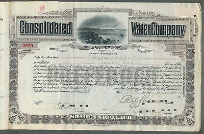 1914 Consolidated Water Company Stock Certificate