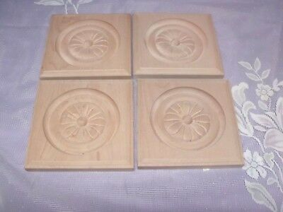 "4 Antique Bullseye Rosette Molding Corner Wooden Blocks 4 1/2"" Sq  X 1/2"" Depth"