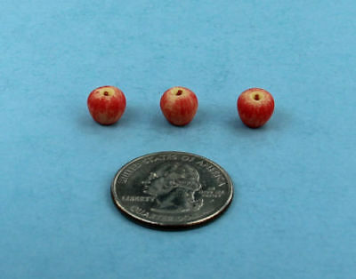 Set of 3 Dollhouse Miniature Realistic Apples 1:12 Scale #LF001
