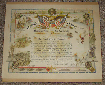 1941 WWII era PATRIOTIC LOYALTY PLEDGE CERTIFICATE - FDR ROOSEVELT