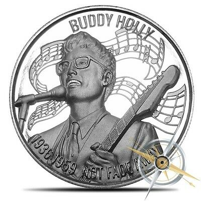 New ~2~Oz ~.999 Silver Round ~ Buddy Holly ~Music Icons~Ultra High Relief~$59.88
