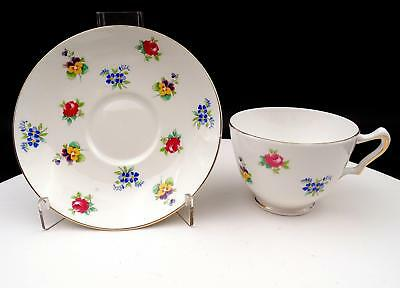 """Crown Staffordshire England Rose Pansy 2 3/8"""" Cup And Saucer"""