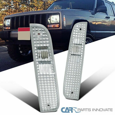Jeep 97-01 Cherokee Corner Lights Turn Signal Park Lamps Chrome Clear Left+Right