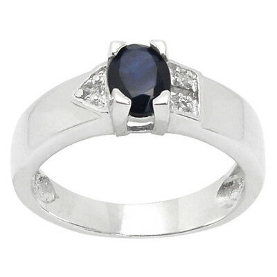 De Buman Sterling Silver 1.07ctw Sapphire & Cubic Zirconia Ring Fine Rings