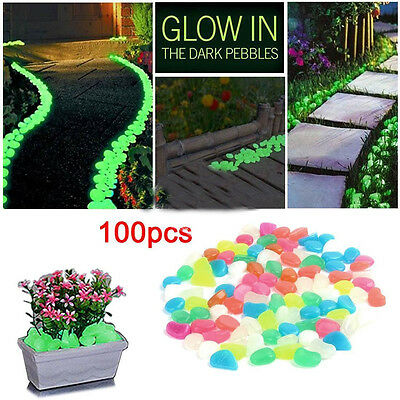 100 Glow in Dark Pebbles Stone Home Garden Walkway Aquarium Fish Tank Valentine