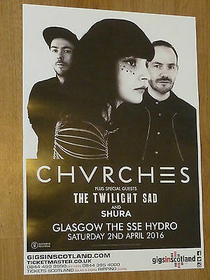 Chvrches + The Twilight Sad, Shura - Glasgow april 2016 tour concert gig poster