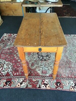 Antique 19th Century Kitchen Victorian Scrubbed Pine Side Table With Drawer